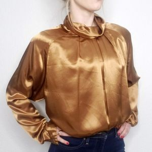 Vintage 80s Tan High Mock Neck Satin Blouse 022